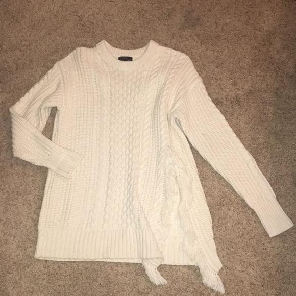 0906b0c649f0ca J. Crew Sweaters | Jcrew Cable Knit Fringe Sweater | Poshmark